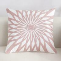 Star Pink White Square Scandinavian embroidery Indoor cushion cover 18'