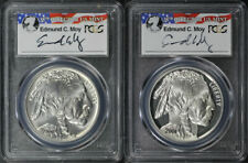 2001 P & D Proof and BU Silver Buffalo PCGS MS/PR-69 Edmund Moy Signature
