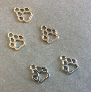Antique Silver, Paw Print Charms,11x13mm,5pcs, Jewellery Making, Crafts, Gift