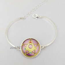 NEW Silver Anime Sailor Moon Glass Tibet Silver Charm Infinity Bracelets Jewelry