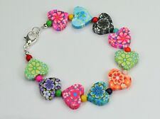 Multi-colour patterned fimo clay hearts dyed howlite bead bracelet silver clasp