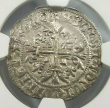 King Robert D'Anjou NGC AU58 Silver 1G Gigliato Naples Italy Medieval Holy Cross