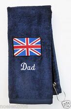 Personalized Embroidered UK British Flag Bowling Hand Golf Towel Monogrammed