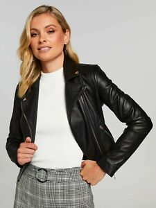 Portmans Black Women SlimFit Biker Let Loose Lamb Leather Jacket RRP290 GENUINE