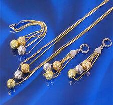 Charm Ball 18k Multi-tone Gold Filled 3-Strings Necklace Bracelet Earrings Set