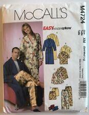 mccalls M4724 sewing pattern his hers men women bathrobes pajamas slippers S M L