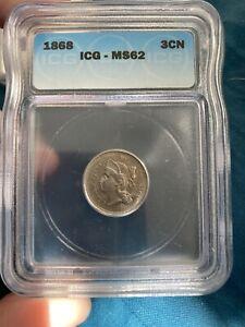 1868 3 Cent Nickel ICG MS62 BU