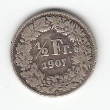 1907 B SWITZERLAND / Swiss / HELVETIA 1/2 FR / Franc SILVER Coin #05