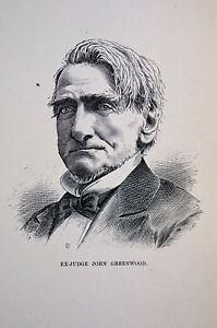 Rawson PORTRAIT of ex-Judge JOHN GREENWOOD 1883 Antique Engraving Matted