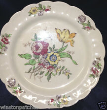 "BOOTHS CHINA ENGLAND PLYMOUTH A8007 DINNER PLATE 10 1/4"" MULTICOLOR FLOWERS"