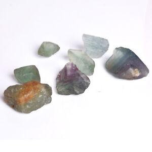 Natural BI Color Fluorite Crystal Healing Rough Gemstones Lot 373 Ct./7 Pcs