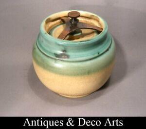 Stoneware Lidded Tobacco Pot or Jar with Metal Pressure Closing