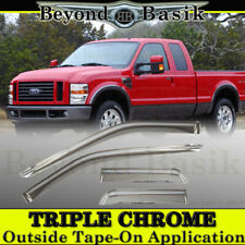 1999-2016 Ford F-250 Extended Cab 4PC Chrome Door Vent Visors Window Rain Guards