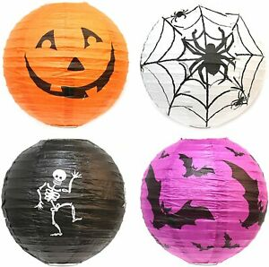 Fun Paper Halloween Decoration Lanterns Trick or Treat Kids Party (Pack of 4)
