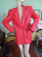 Red Leather Vintage Blazer jacket Renaissance la nouvelle M womens Soft 80's Euc