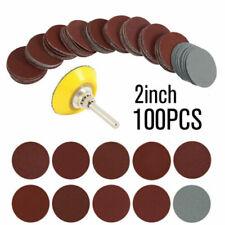 2Inch 100pcs Sanding Discs Pad Kit Round Sand Paper Hook Loop Sander Backer US