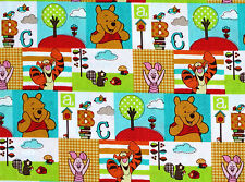 FAT QUARTER DISNEY WINNIE THE POOH CHARACTER PATCH COTTON FABRIC SPRING CREATIVE