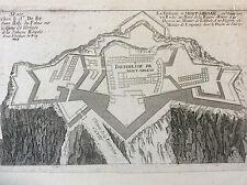 Gravure au burin Forteresse de Montmelian estampe Nicolas de Fer 1693 Savoie.