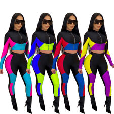 Stylish New Women Long Sleeves Zipper Color Block Patchwork Bodycon Jumpsuit2pcs