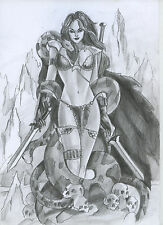 A00315 Red Sonja by Ladin original art drawing marvel comics (NOT A PRINT)