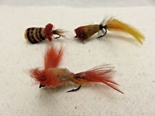 Vintage 3 Hand tied Floating Poppers fishing lure Great Shape