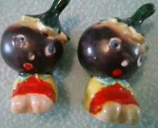 Anthropomorphic Eggplant People Ceramic Salt Pepper Shakers Japan Vintage Pair