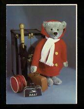 Teddy Bear chrome postcard Ted Menten 1985 Steiff  traveling bear