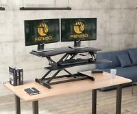 """Electric Standing Desk Converter  37"""" Black Adjustable Stand Up Power Riser"""