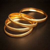 Vintage Handmade Dubai Slip-On Bangles In Solid Hallmark 22K Fine Yellow Gold