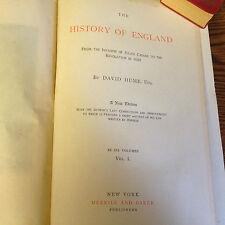 DAVID HUME-HISTORY OF ENGLAND 6V SET c1890 ELEGANT/SUPERB-PROSE -PLATES/RARE ED