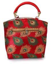 Red Clutch Peacock Feather Design Handbag  Evening Clutch  Bridal Handmade Bag