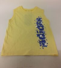 adidas Yellow Sparkle Vest Top Girls Size 6x Stars Cotton Sleeveless