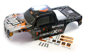 HPI Savage X 4.6 * NEW STYLE  BLACK GRAY BODY * & Decals Shell Cover Silver GT-3