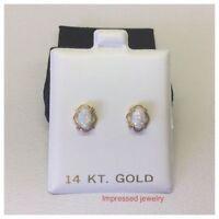 Women/Children's Stylish 14K Solid Yellow Gold oval Opal Stud Screw Back Earring