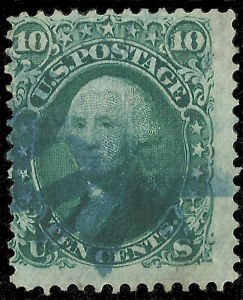 """Scott 96 - The 1867 Ten Cent Washington Stamp, """"F"""" Grill with Blue Cancel - Used"""