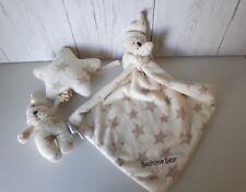 Mothercare bedtime bear baby comforter lulliby soft toy blankie stars bundle