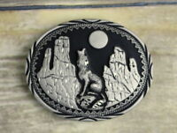 Howling Wolf Belt Buckle Silver Black SSI Moon Vintage Country Western Cowboy