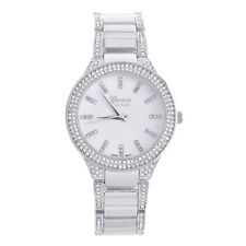 Lady's Women's Luxury CZ Iced Silver Plated Metal Watches WM 4945 S