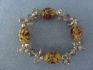 GIFT - Natural Oval Amber Beads With Glass Crystal Beaded Stretchy Bracelet
