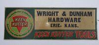 Vintage Keen Kutter Advertising Sign - Wright & Dunham, Erie Kansas