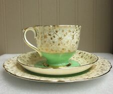 SHELLEY TRIO GOLD LEAF & STEM CHINTZ APPLE GREEN ASCOT SHAPE c 1938 Pat 12842/4