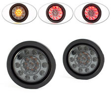 "4"" Universal Flush Mount Smoked Lens Integrated LED Stop Taillight + Indicators"
