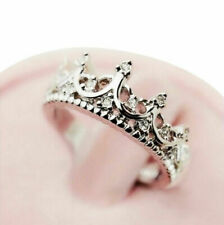 Crown Silver Plated Princess Rings Women Girl Ring Band Fashion Gift Elegant