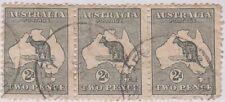 (R619) 1913 Australia 2d grey kangaroo strip of 3 ow3