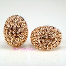 Lrg Rose Gold Plated Oval Dome Cupped Huggie Stud Earrings w/ Swarovski Crystals