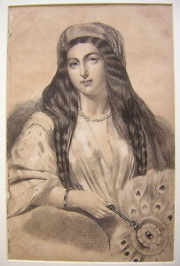 Unknown Unidentified: Young Woman & Fan 1859 / Antique British Ink 19th Century