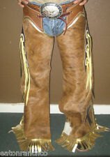 Eaton Ranch Hair On Leather Pro Rodeo Bullriding Chaps Chap Metallic Made 2 Orde