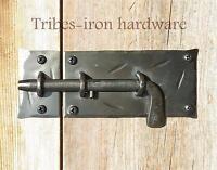 Slide Bolt Door Latch Wrought Iron Cabinet Lock Cupboard Hand Forge Antique Gate