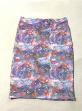 Lularoe XL Cassie Skirt Purple Pink Galaxy Watercolor Floral Textured Stretchy