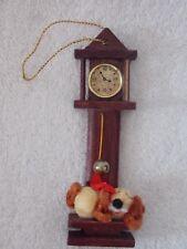Vintage Grandfather Clock With Dog Sleeping Christmas Ornament